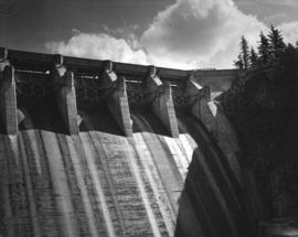 [Part of hydro-electric dam with the flood gates closed]