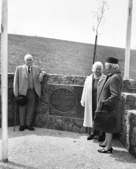 [Major J.S. Matthews beside the New Brighton Park plaque]