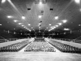 Interior of Garden Auditorium prepared for stage show, as seen from the stage