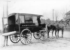 [A horse-drawn Vancouver General Hospital ambulance]