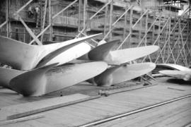 [Boat propellors at Burrard Drydocks south yards]