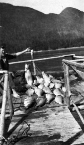 [Boy with fishing rod sitting on a dock with caught salmon, Stuart Island, B.C.]