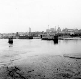 [View of the remaining concrete piers from the Vancouver, Westminster and Yukon (VW&Y) trestl...