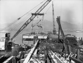 Demolition of old raw sugar dock and railway