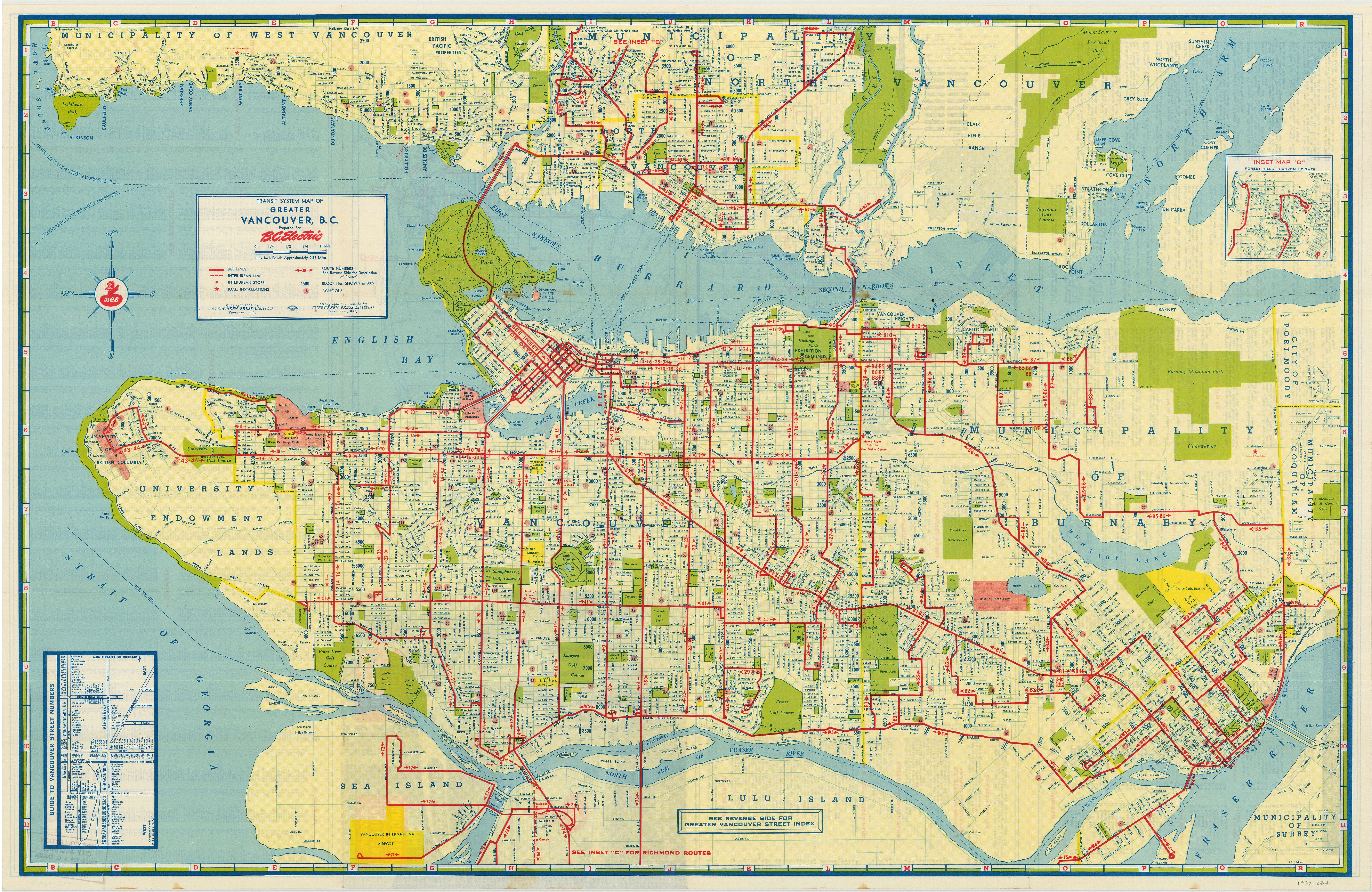 Transit System Map Of Greater Vancouver B C City Of Vancouver