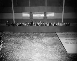 People viewing Challenger relief map of British Columbia in P.N.E. B.C. Building