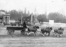 [The six-horse team of Mainland Transfer Company putting on a display at the Vancouver Exhibition]