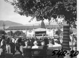 H.M.C.S. Discovery band performing on Outdoor Theatre stage