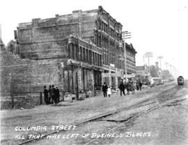 Columbia Street. All that was left of business blocks [after fire of September 10, 1898]
