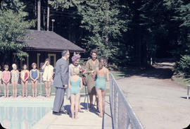 Capilano Park pool opening, Mrs. Hogarth and Mrs. Paterson