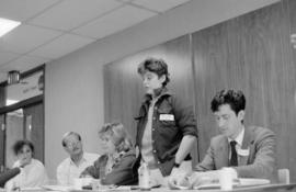 [Sara Diamond, unidentified, unidentified, Bet Cecil, Svend Robinson at panel event/workshop]