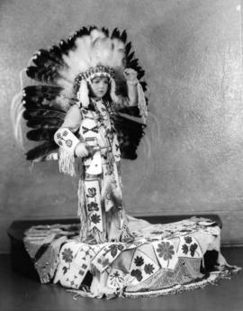 Beverly Kendall, wearing First Nations dress, as 1936 Vancouver Jubilee mascot