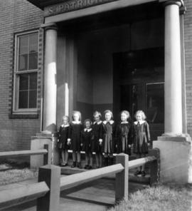 Close-up of students on St. Patrick's School steps in Mount Pleasant