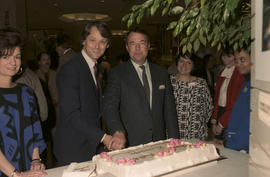 Gordon Campbell and unidentified man cutting cake at Legacies Program event at The Bay