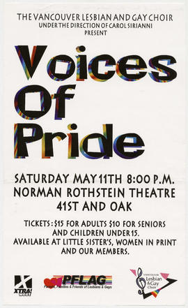 The Vancouver Lesbian and Gay Choir under the direction of Carol Sirianni present Voices of Pride...