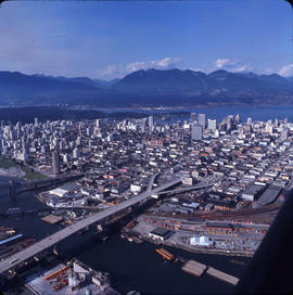 Aerial view of Vancouver : looking north showing both shores of False Creek and the Granville and...