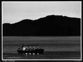 Twilight anchorage [ship in harbour]