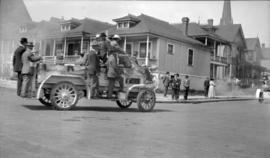 [Fire truck in parade at Georgia and Homer Streets]