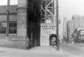 [The corner of the Canadian Bank of Commerce at 300 West Hastings where the first survey stake wa...