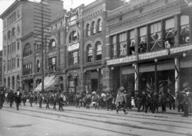 [Tsimpsian brass band on the north side of the 500 block of Hastings Street]
