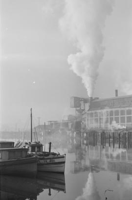 [Coal and gas works near Georgia Viaduct on north bank of False Creek]