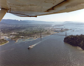 "Aerial view CP car ferry, ""Princess of Vancouver"", Lions Gate Bridge and North Vancouve..."