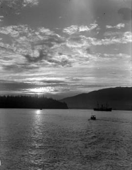 [View of the setting sun from Burrard Inlet]