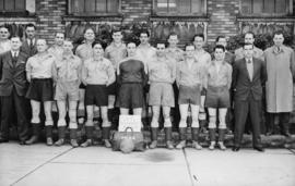 P.M.B.A. football team [group portrait of Police Mutual Benefit Association soccer team]