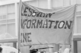 International Women's Day '84 [Lesbian Information Line banner]