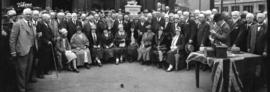[Pioneers gathered for the unveiling of the Maple Tree Monument and fountain at Carrall Street an...
