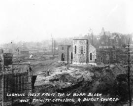 Looking west from top of Burr block - Holy Trinity Cathedral and Baptist Church [after fire of Se...