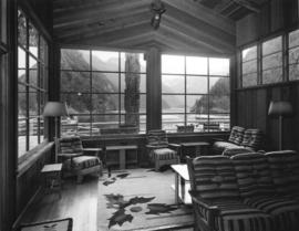 [A view of Princess Louisa Inlet from the lounge of the Malibu Club]