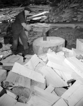 [Man chopping wood at] Sandspit [on the] Queen Charlotte Islands