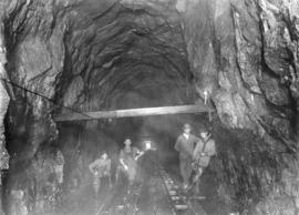 Pipe-fitters and motormen near west portal [of the] Lake Buntzen tunnel enlargement