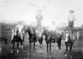 [Nora York, James McAdams, Tommy York, Maud Chapman and Locke Chadsey on horses on the Sumas Prai...
