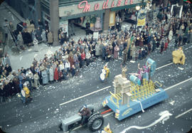 43rd Grey Cup Parade, on Granville Street, Toronto Canadian National Exhibition float with tracto...
