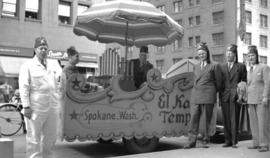 [Float and members of the Shriner El-Kahf Temple from Spokane Washington in Vancouver for a parade]