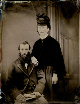[Studio portrait of unidentified man and woman]