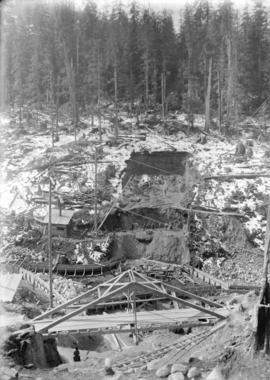 [Scaffolding, bridges and other structures over partially excavated area for Buntzen Lake Power P...
