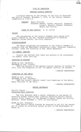 Council Meeting Minutes : Nov. 5, 1974