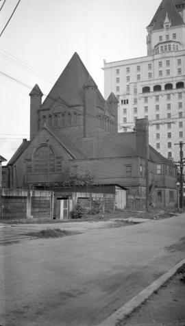 [Rear view of] Wesley Church [Burrard and Georgia Streets]