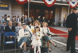 Centennial Commissioners and girl at Pacific Central Station for arrival of Jeanne Sauvé