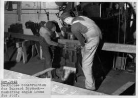 War work: deckhouse construction for Burrard Drydock-cambering angle irons for roof