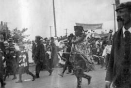 [A native man in costume in the Labour Day parade]