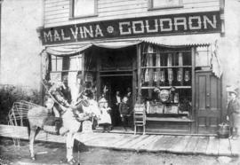 [Exterior of Malvina Goudron hardware (formerly First Baptist Church) on Westminister Avenue]