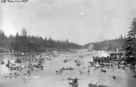 Indian canoe race in gorge, Victoria, B.C.