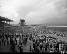 Crowd watching horse race at P.N.E. race track, with Grandstand and Shoot the Chutes in background