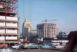 [View of the Bentall Centre and the Melville Building under construction] on Burrard Street