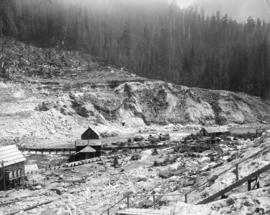 Coquitlam Dam [showing a] view of sluicing done for proposed canal to sluice tunnel