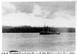 H.M.S. Pheasant in Fraser River at New Westminster, B.C. 1889